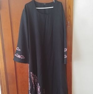 Black w/ Pink Embroidery Abaya Dress for sale